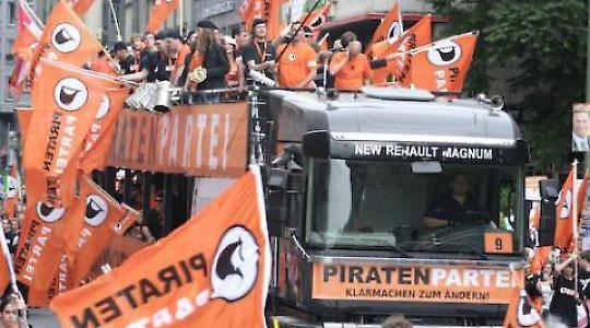 Piratenwagen auf der Freiheit-statt-Angst-Demo am 12.9.2009 <br/>Fotos: Björn Kietzmann